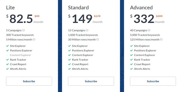 Pricing Plan Ahrefs